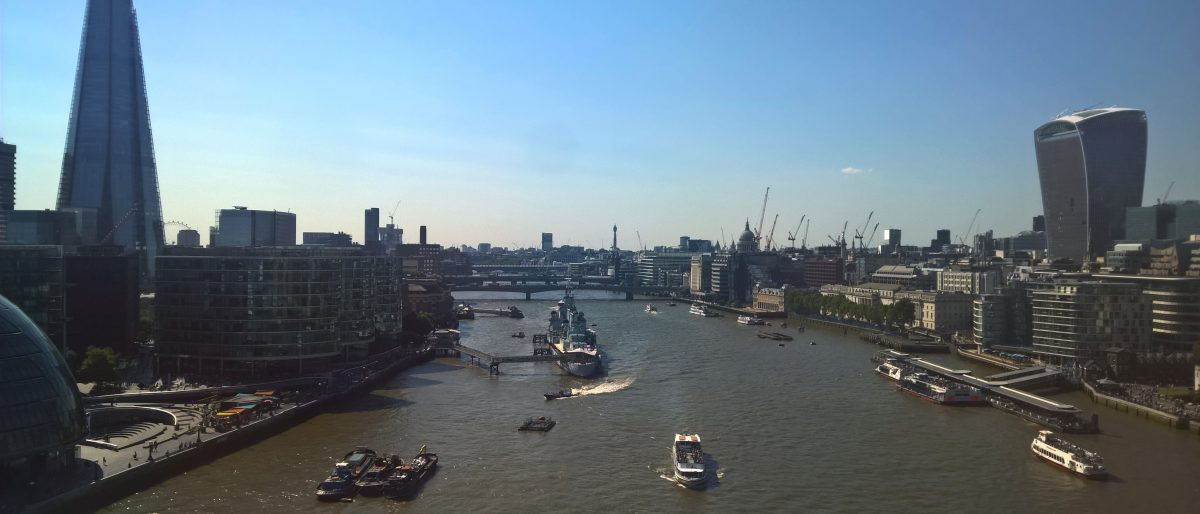River Thames as seen from the top of Tower Bridge